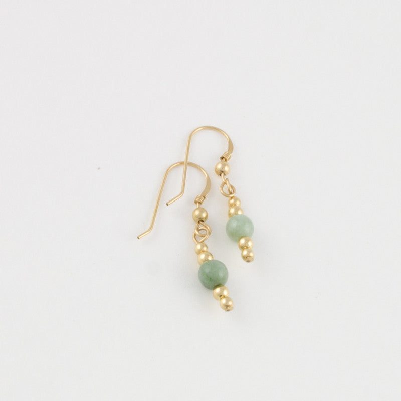 Jade and double goldfilled bead earrings