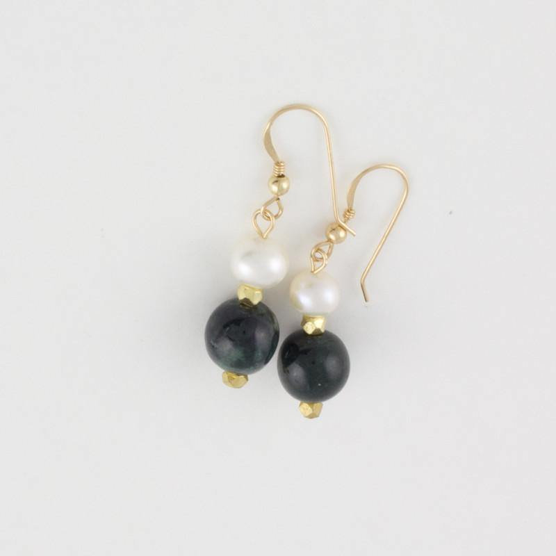 Black Jade and Pearl Drop Earrings on Goldfilled hooks