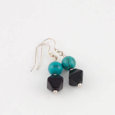 Black Jade w/ Turquoise Earrings