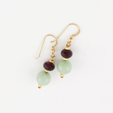 Black Jade Earrings w/ Faceted Garnet in Goldfilled