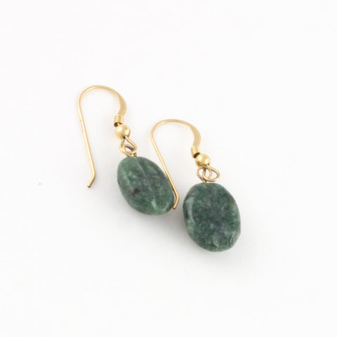 Mint Jade Coffee Bean Earrings with goldfilled hooks