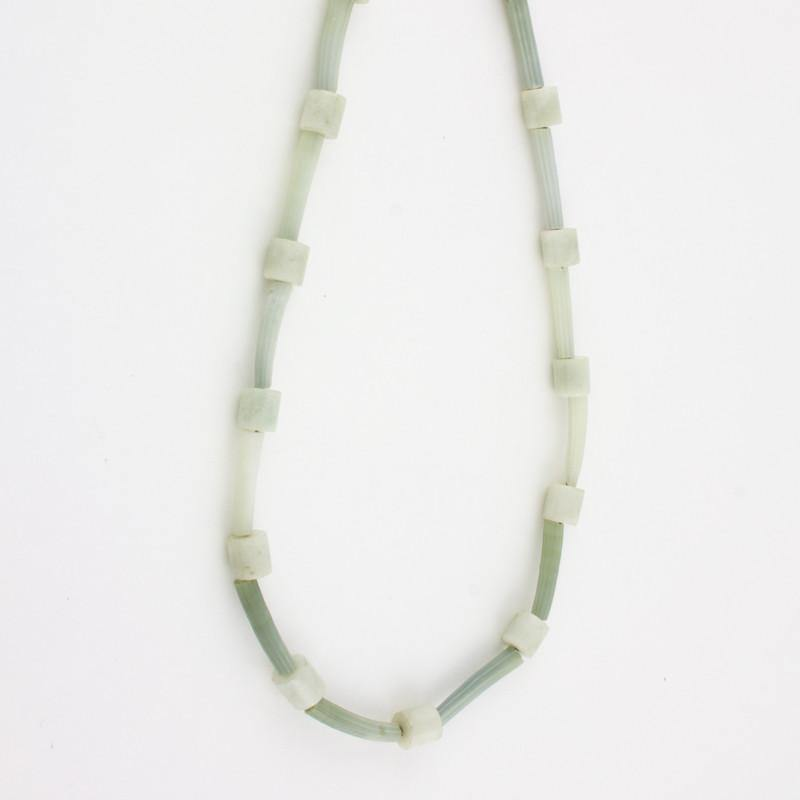 Dentalium shell necklace with light green Jade tubes
