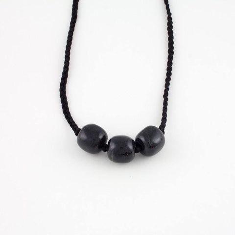 3 nugget black jade necklace