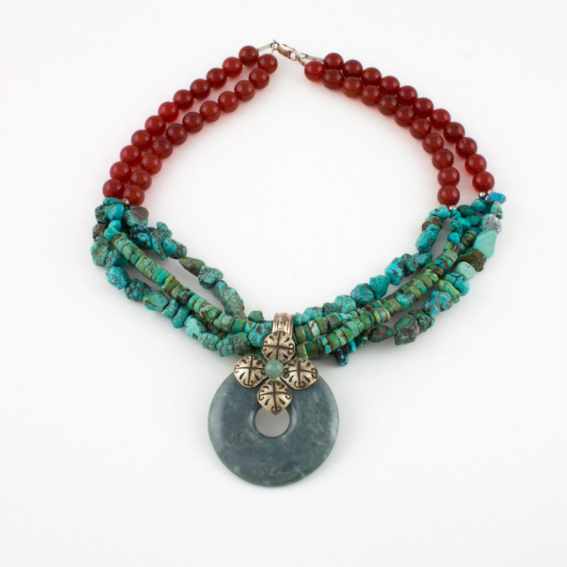Multistrand jade Disc Necklace