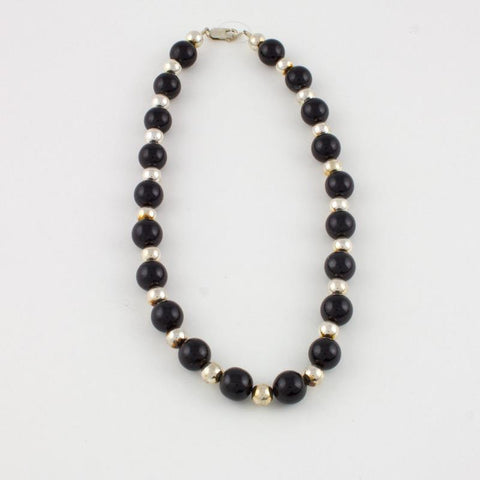 Black Jade and Goldfilled Bead Necklace