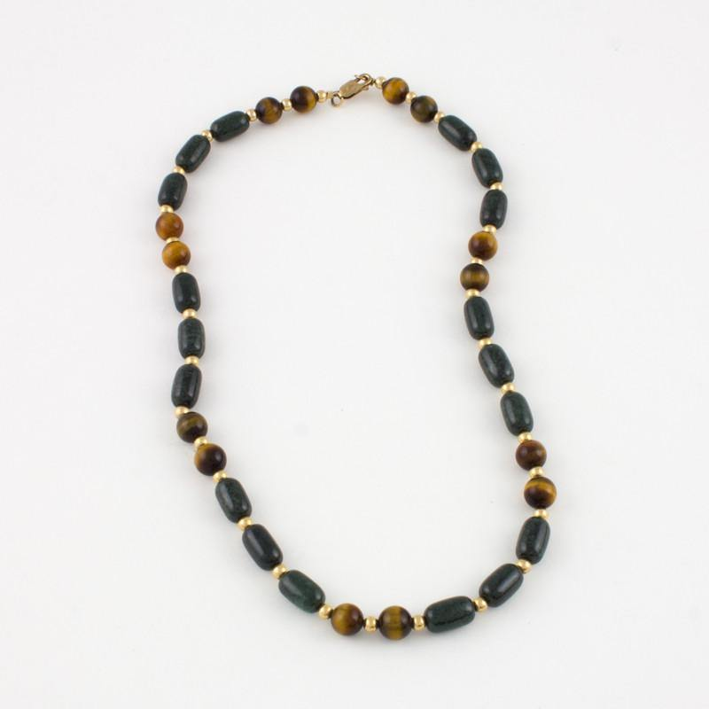 Dark green Jade and Tigereye Necklace in goldfilled - Jade Maya