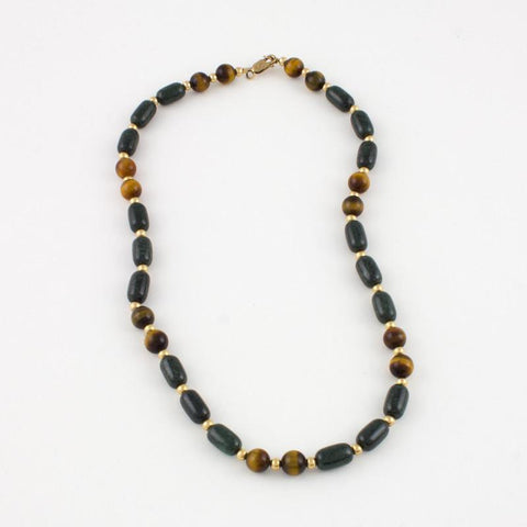 Dark green Jade and Tigereye Necklace in goldfilled