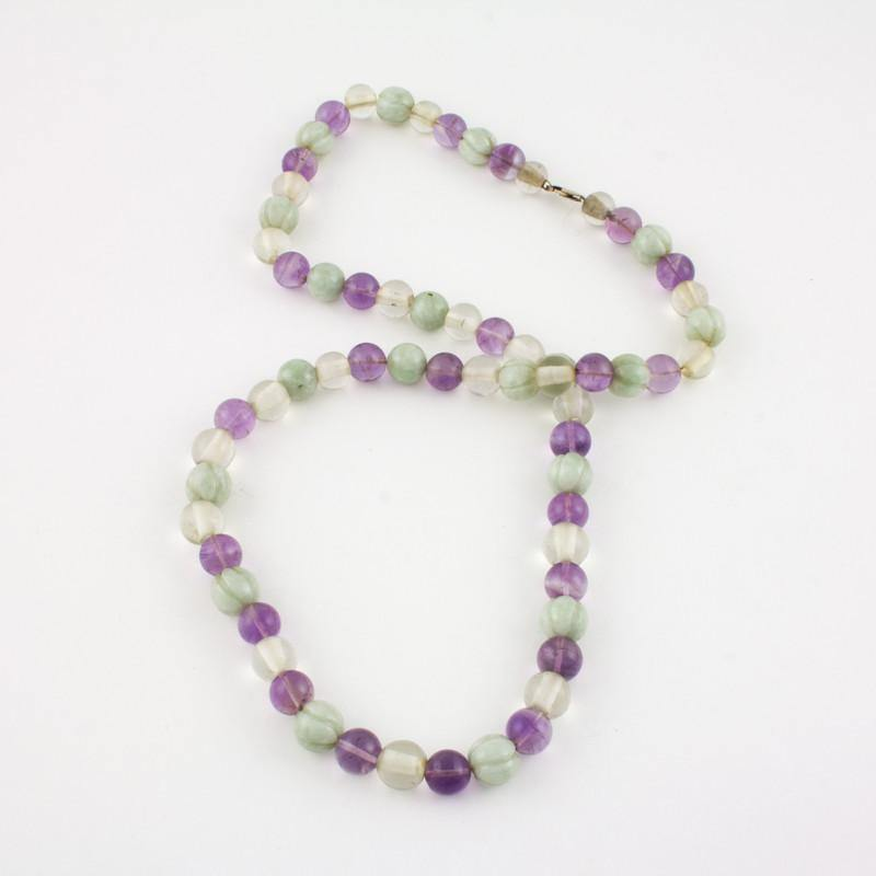 Beaded light green Jade necklace with Rock Crystal and Amethyst
