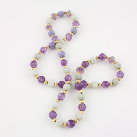 Lilac and white Jade necklace