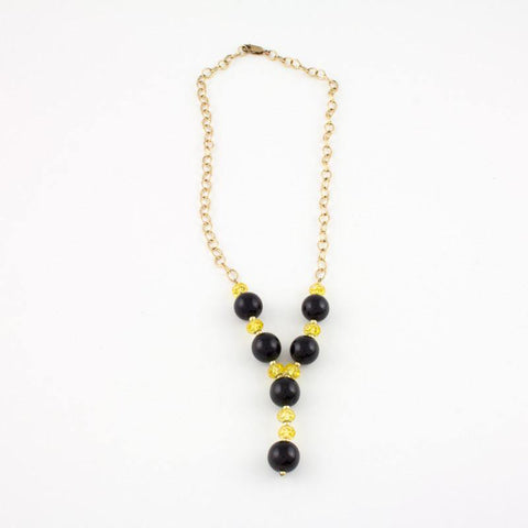 "Black Jade ""Y"" Necklace with goldfilled chain and yellow crystals"