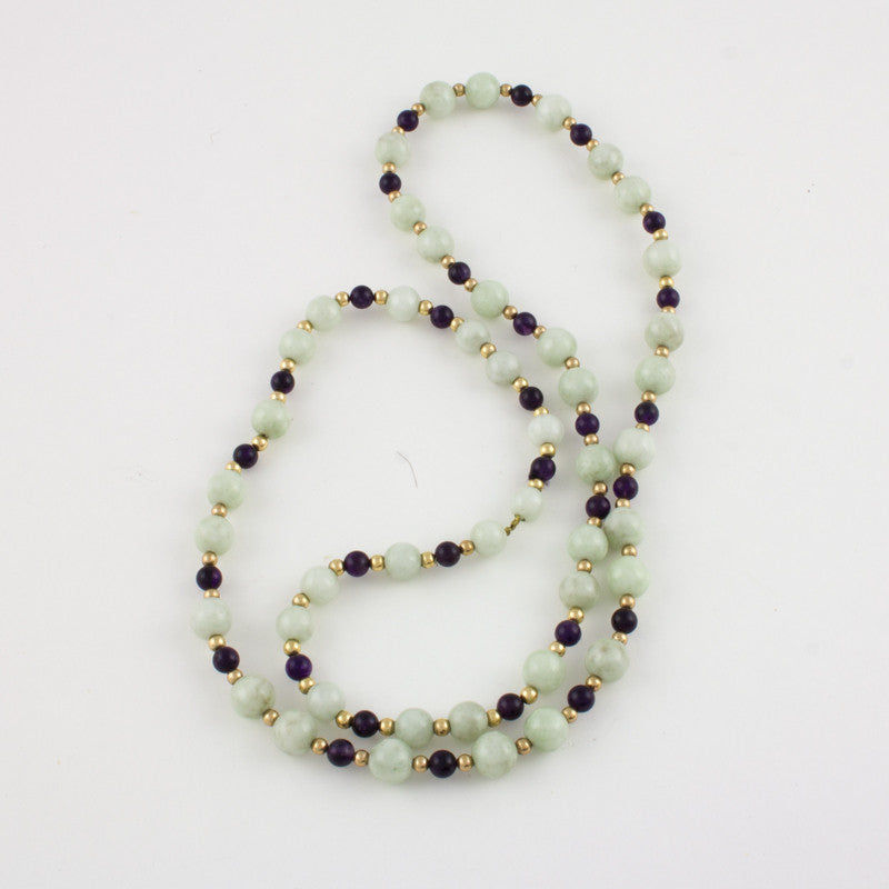 White Jade and dark amethyst necklace