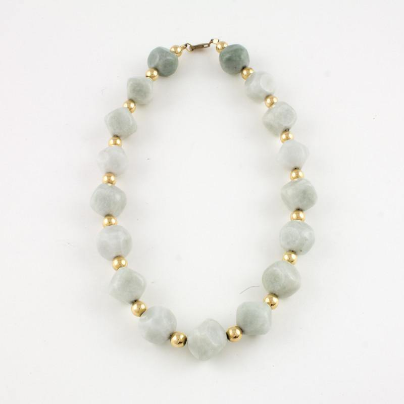 Faceted light green jade bead necklace