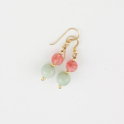 Drop earrings of Light Green Jade Earrings and Rhodochrosite