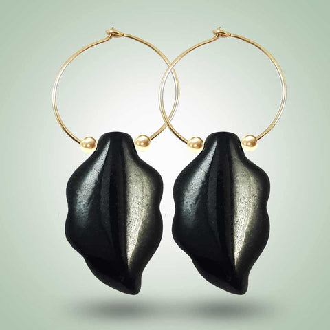Hoop Leaf Earrings
