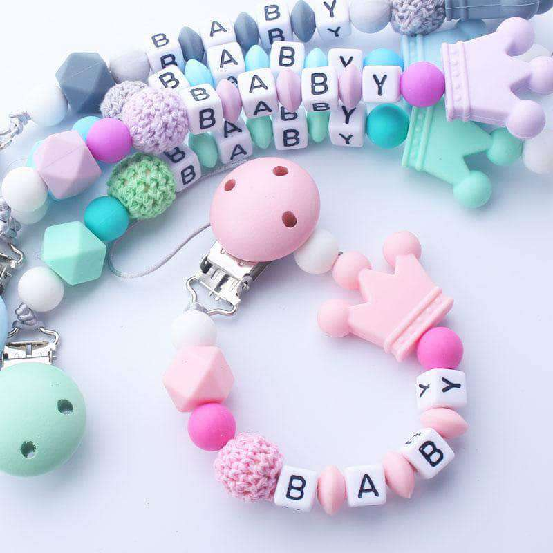 Abnex Abnex Personalised Baby Pacifier, Beads Silicone Pacifier Chain Holder