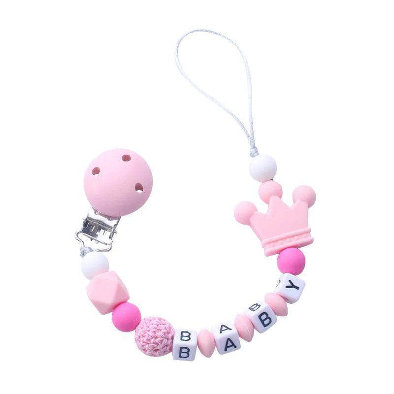 Abnex Pink Abnex Personalized Baby Pacifier Clip | Beads Silicone Pacifier Chain Holder OODS0000969