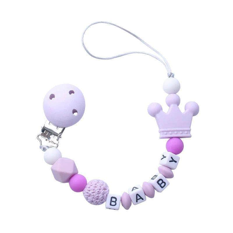 Abnex Purple Abnex Personalized Baby Pacifier Clip | Beads Silicone Pacifier Chain Holder OODS0000973