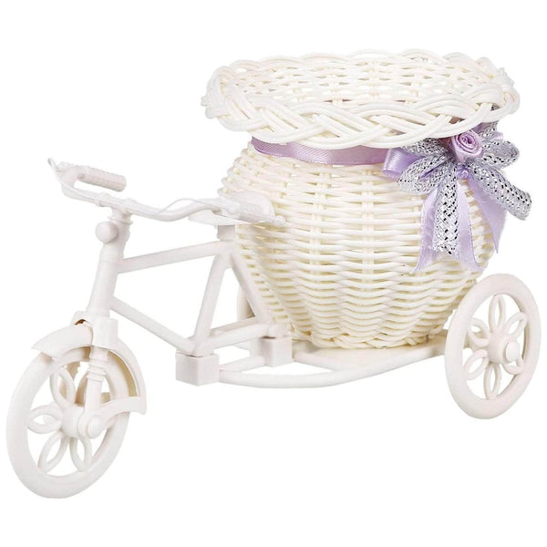 Adornio Adornio White Tricycle Flower Basket | Wedding Giveaways, Anniversary or Home Decoration OODS0000908
