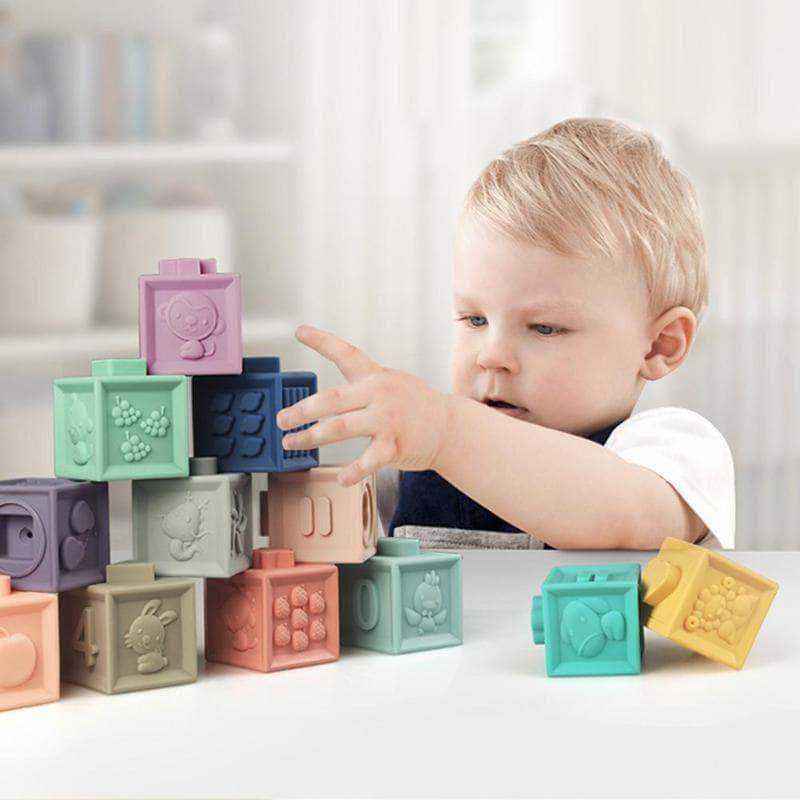 Babop Babop Baby Soft Building Blocks Teething Chewing Early Educational Squeeze Stackable Baby Toys OODS0000504