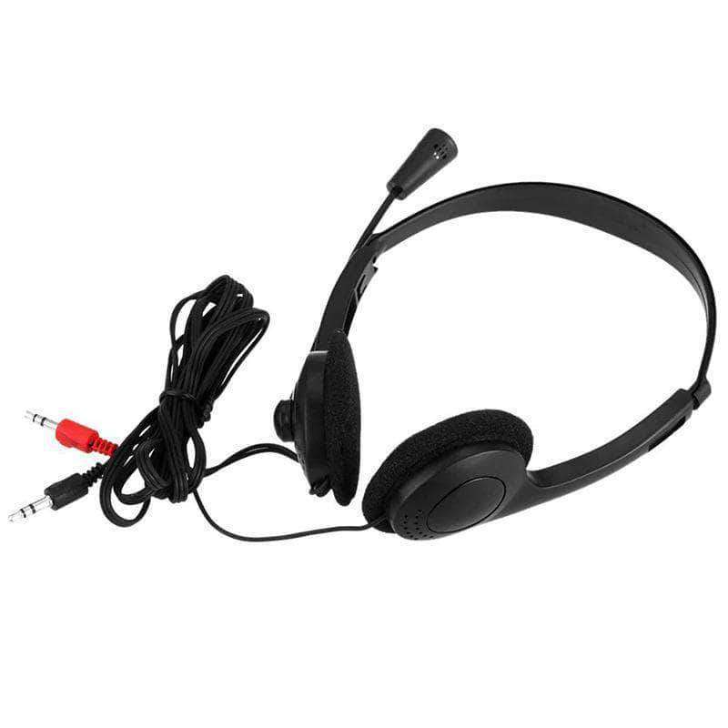 Beatbucks Wired 3.5mm Stereo Headset | Noise Cancelation | Mic Adjustable Headband for Laptop / Desktop - Ooala