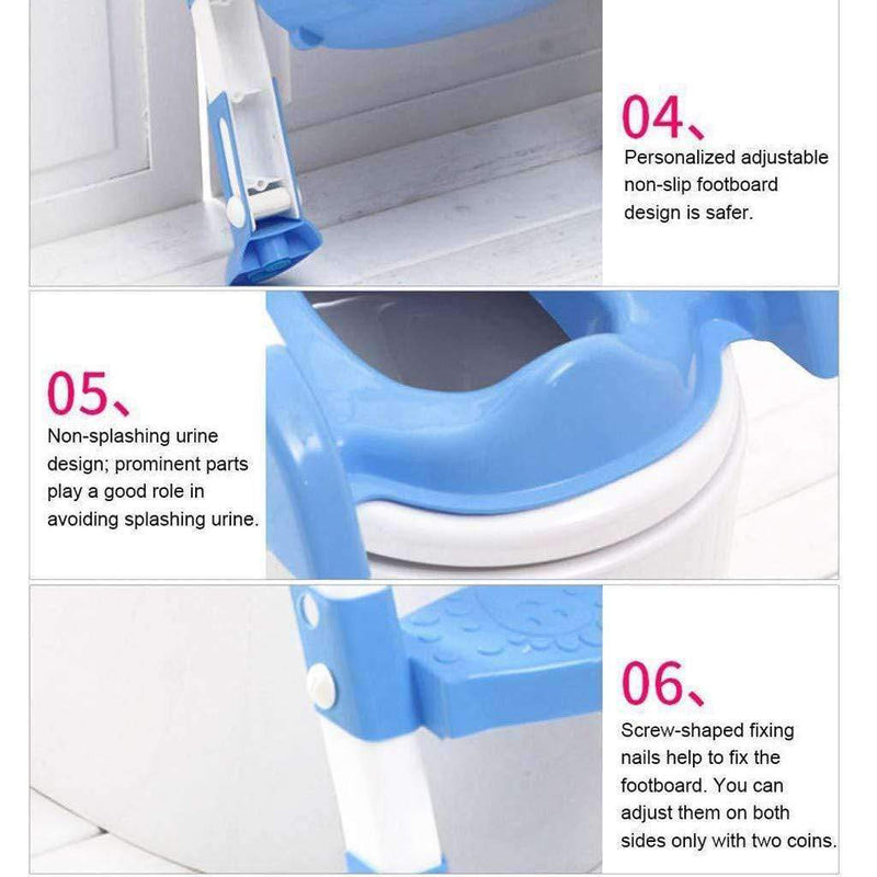 Broome Potty Training Toilet Seat with Step Stool Ladder | Non-Slip, Adjustable Chair with Backrest - Ooala