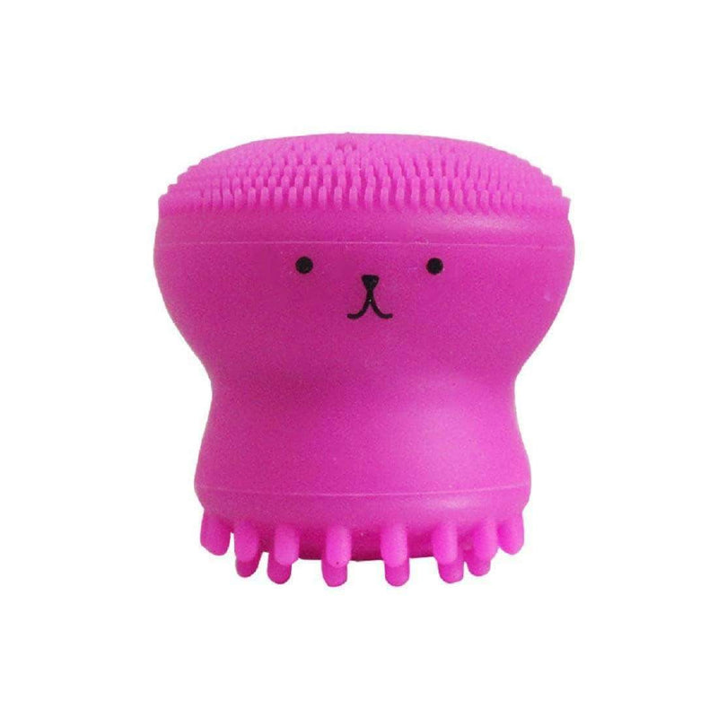 Brussh Fuchsia Brussh Facial Cleansing Silicone Handheld Face Brush Small Octopus Shape Face Scrubber & Massager OODS0000483
