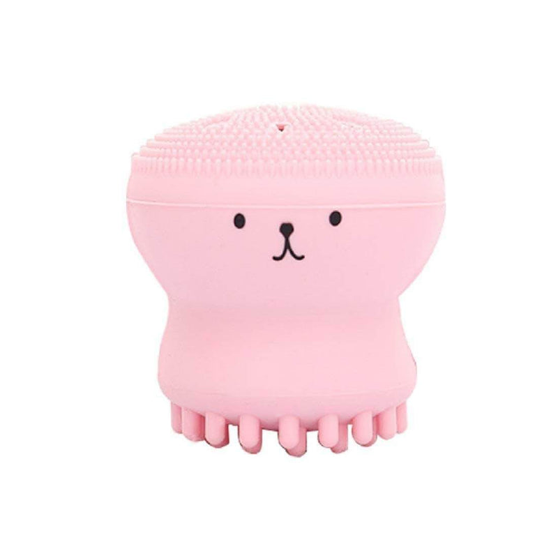 Brussh Pink Brussh Facial Cleansing Silicone Handheld Face Brush Small Octopus Shape Face Scrubber & Massager OODS0000485