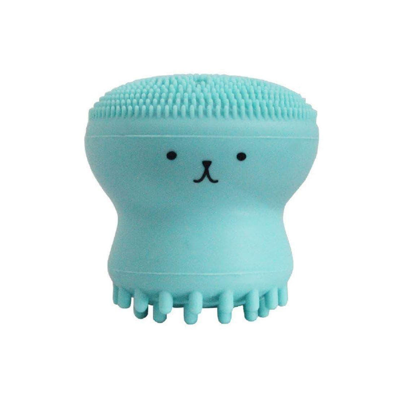 Brussh Powder Blue Brussh Facial Cleansing Silicone Handheld Face Brush Small Octopus Shape Face Scrubber & Massager OODS0000484