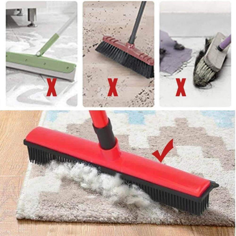 Buttercup Rubber Broom Carpet Sweeper with Squeegee Adjustable Long Handle, Red - Ooala