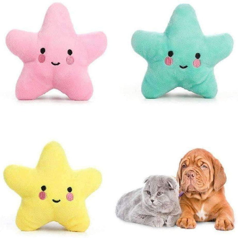 Hiputi Giftable World Star Pet 13cm Plush Pet Toy Smiling Star Squeaker Dog Chew Toy - Ooala