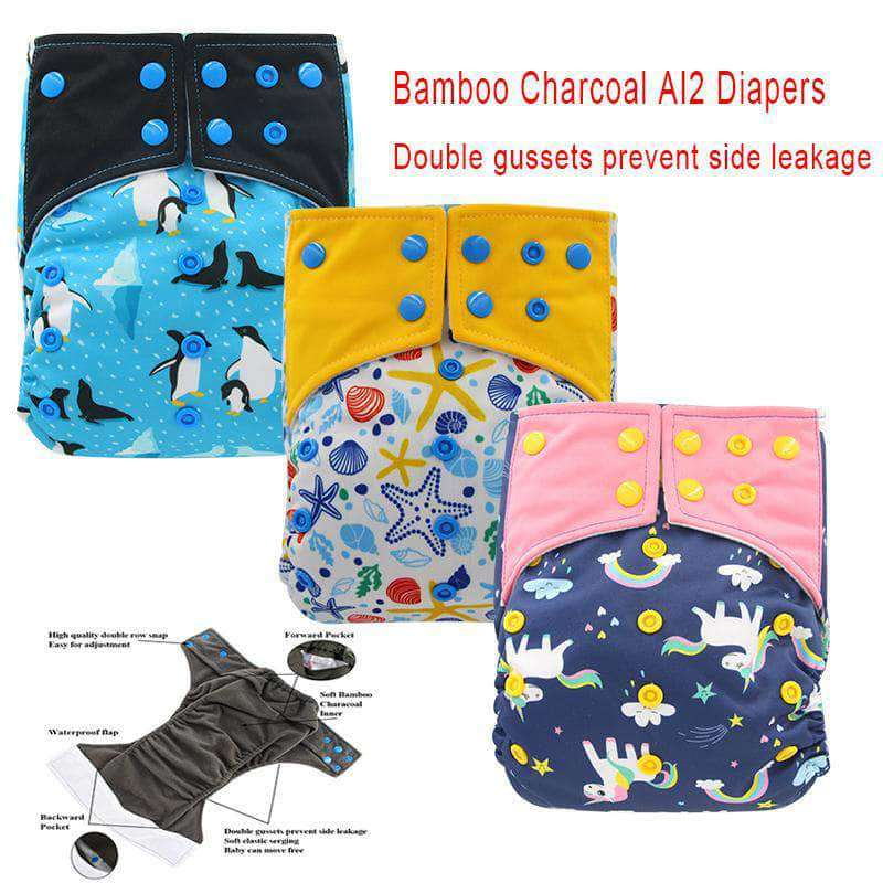 Charcosy Charcosy Double Gussets Baby Nappy, Reusable Bamboo Charcoal Cloth Diaper