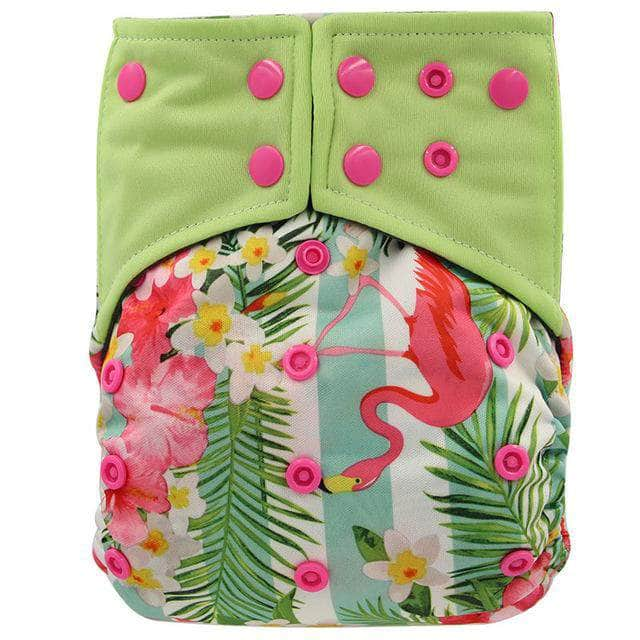 Charcosy Flamingo / one size adjustable Ohbabyka Double Gussets Baby Nappy All-in-two AI2 Bamboo Charcoal Cloth Diaper Reusable Eco-friendly Diaper New Pocket Diaper OODS0000805