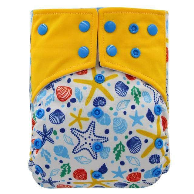 Charcosy Starfish / one size adjustable Ohbabyka Double Gussets Baby Nappy All-in-two AI2 Bamboo Charcoal Cloth Diaper Reusable Eco-friendly Diaper New Pocket Diaper OODS0000807