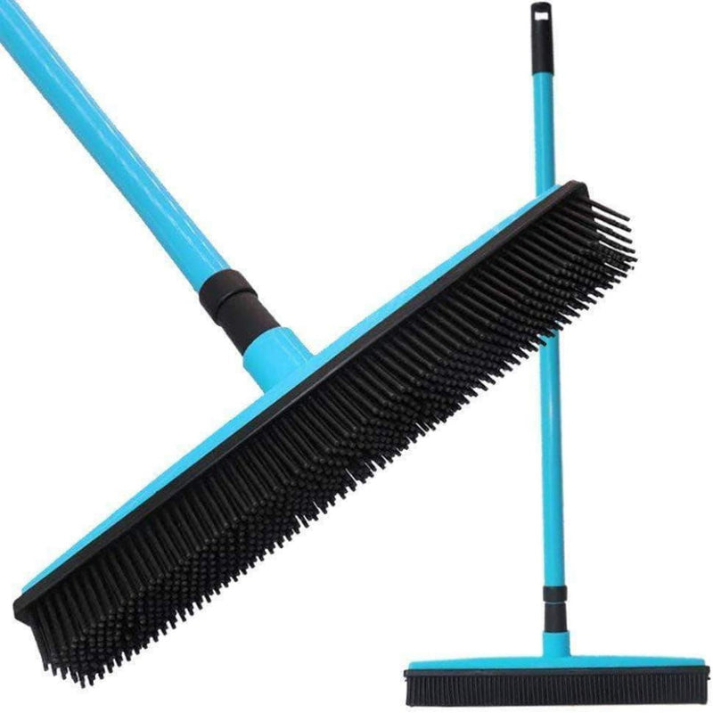 CCClub Rubber Broom Carpet Sweeper with Squeegee Adjustable Long Handle, Blue - Ooala