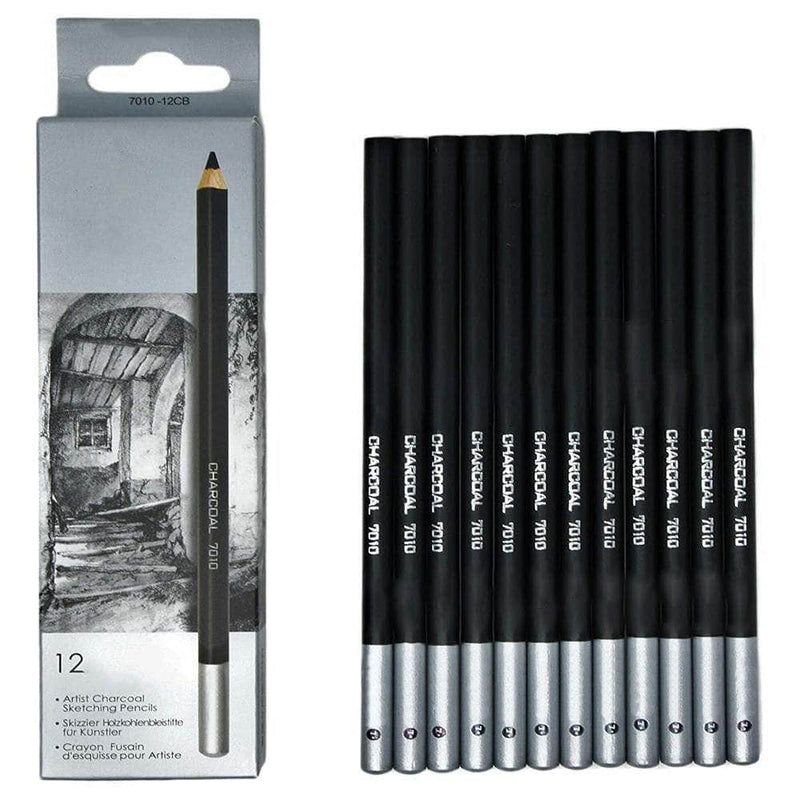 Colari Colari 12pcs/pack Black Artist Charcoal Pencils | Soft, Medium, and Hard