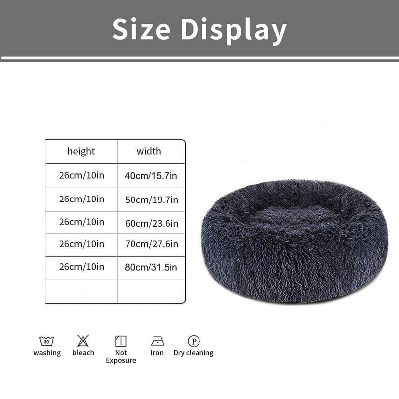 Cuppy 40cm Cuppy Calming Faux Fur Donut Cuddler Bed for Dog & Cat | Washable Round Pillow | Gray 28418253-7-diameter-40cm-china