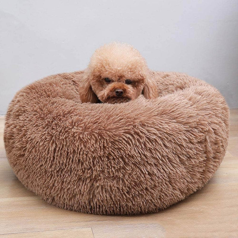 Cuppy Cuppy Calming Faux Fur Donut Cuddler Bed for Dog & Cat | Washable Round Pillow | Brown