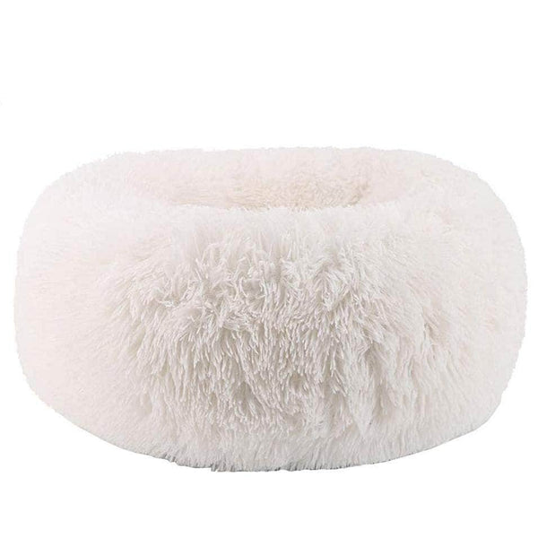 Cuppy Cuppy Calming Faux Fur Donut Cuddler Bed for Dog & Cat | Washable Round Pillow | White