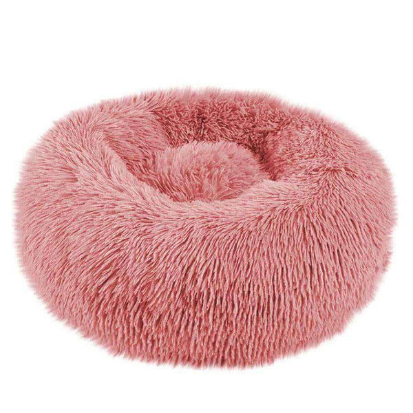 Cuppy Cuppy Calming Faux Fur Donut Cuddler Bed for Dogs & Cats | Washable Round Pillow | Leather Pink