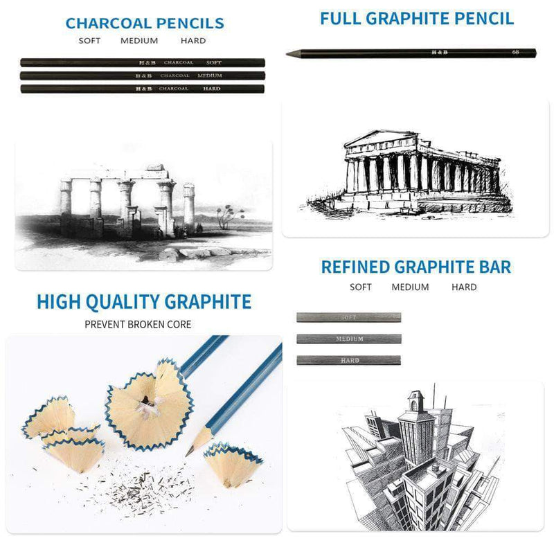 DrawBee DrawBee 32-pcs Professional Art Kit, with Drawing, Charcoal, and Graphite Pencils and Kit Bag OODS0000520