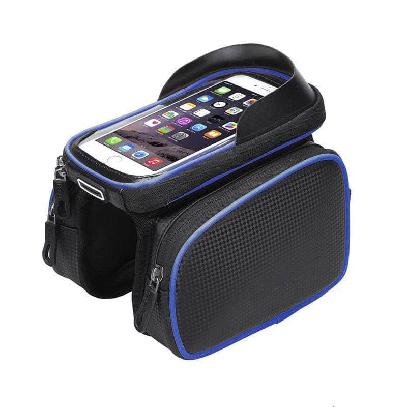 Exeleos Blue Exeleos Waterproof Handlebar Bicycle Bag | Phone Holder Front Frame Bag with Touchscreen OODS0001300