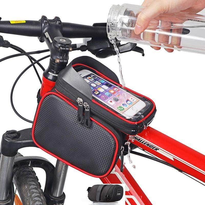 Exeleos Exeleos Waterproof Handlebar Bicycle Bag | Phone Holder Front Frame Bag with Touchscreen