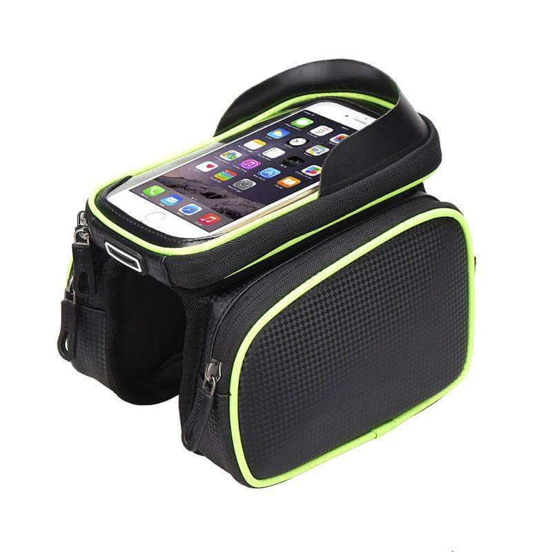 Exeleos Green Exeleos Waterproof Handlebar Bicycle Bag | Phone Holder Front Frame Bag with Touchscreen OODS0001301