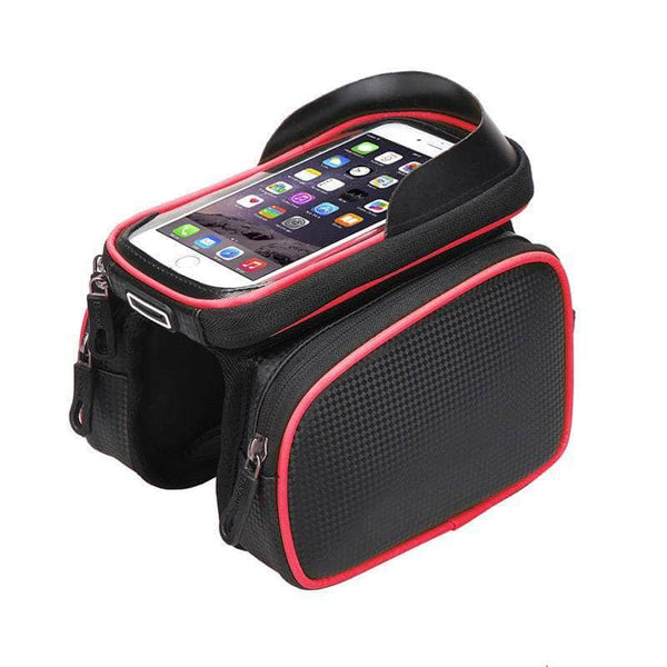 Exeleos Red Exeleos Waterproof Handlebar Bicycle Bag | Phone Holder Front Frame Bag with Touchscreen OODS0001302