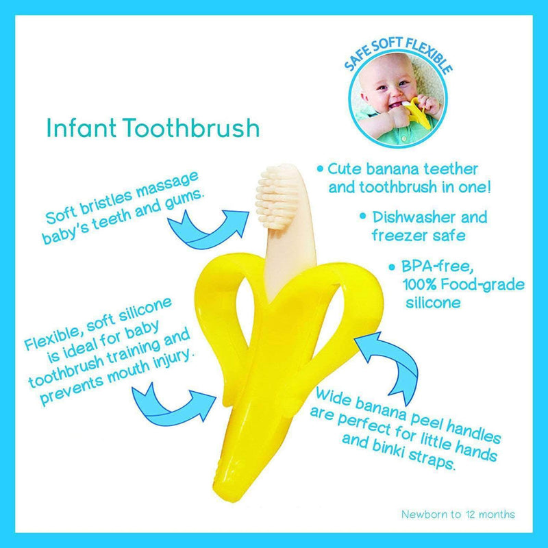 Faybey Faybey Safe Baby Teether Toys BPA Free, Banana Teething Ring Silicone Chew, Dental Care Toothbrush OODS0000031