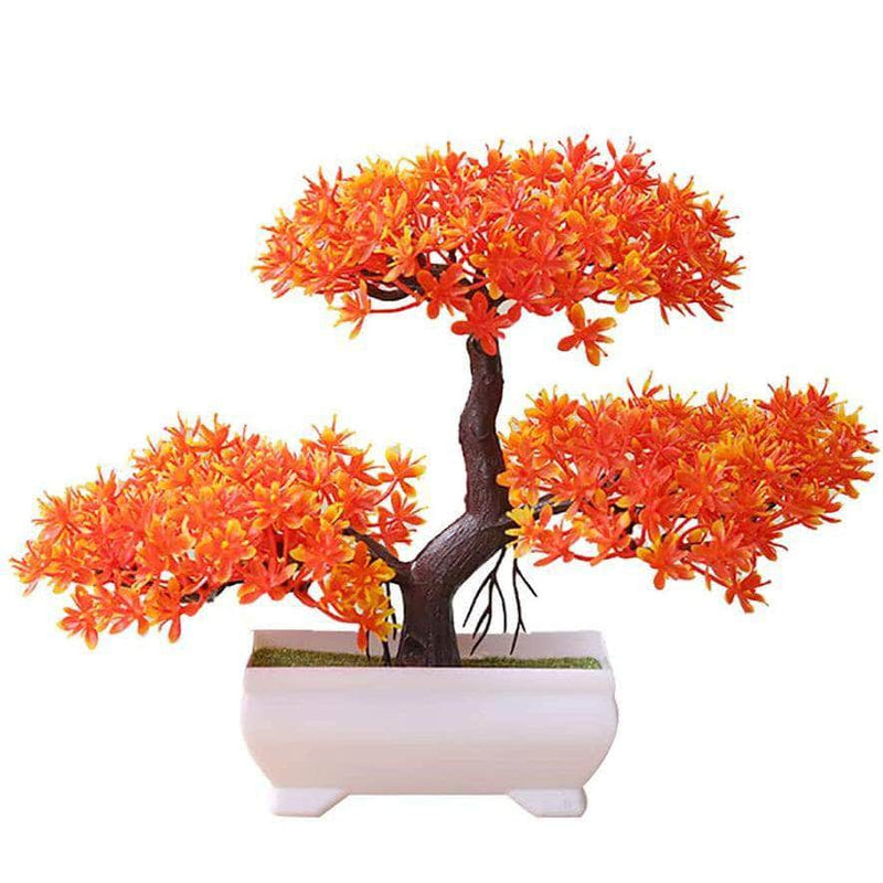 Funterior Orange Funterior Yunsong Style Artificial Bonsai Tree Plants  | Small Ornaments For Home Decoration OODS0000919