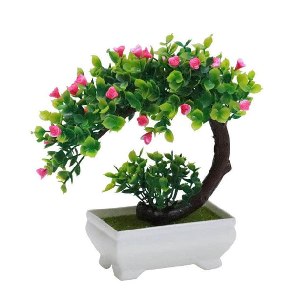 Funterior Pink Funterior Rose Style Artificial Bonsai Tree Plants | Small Ornaments For Home Decoration OODS0000910