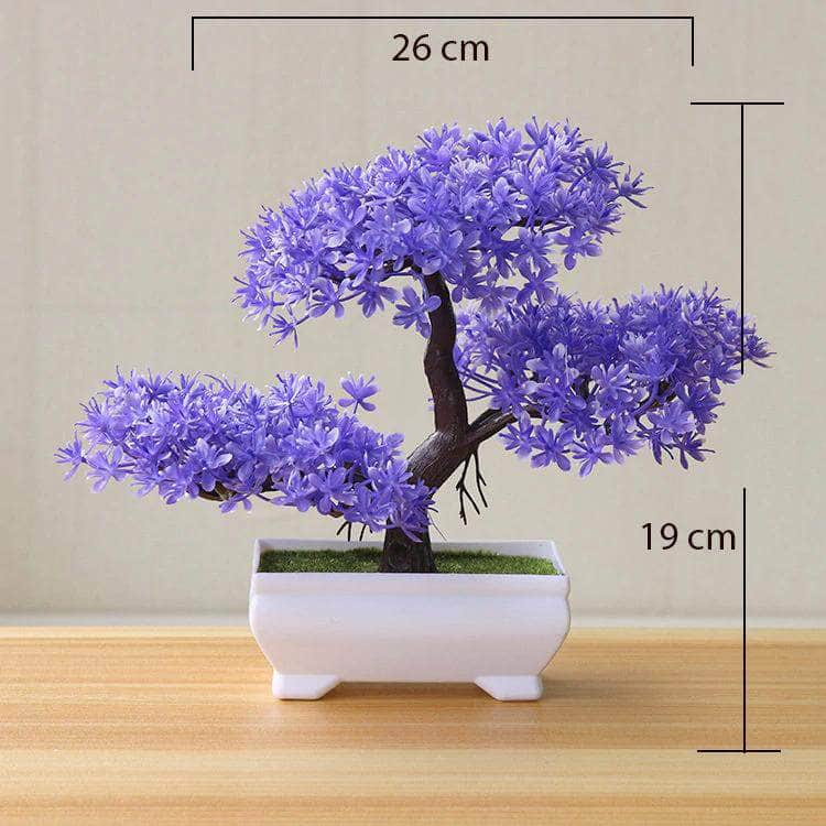 Funterior Purple Funterior Yunsong Style Artificial Bonsai Tree Plants  | Small Ornaments For Home Decoration OODS0000922