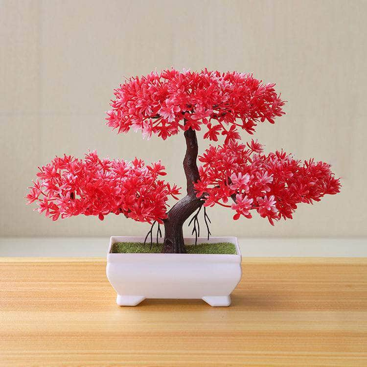 Funterior Red Funterior Yunsong Style Artificial Bonsai Tree Plants  | Small Ornaments For Home Decoration OODS0000923