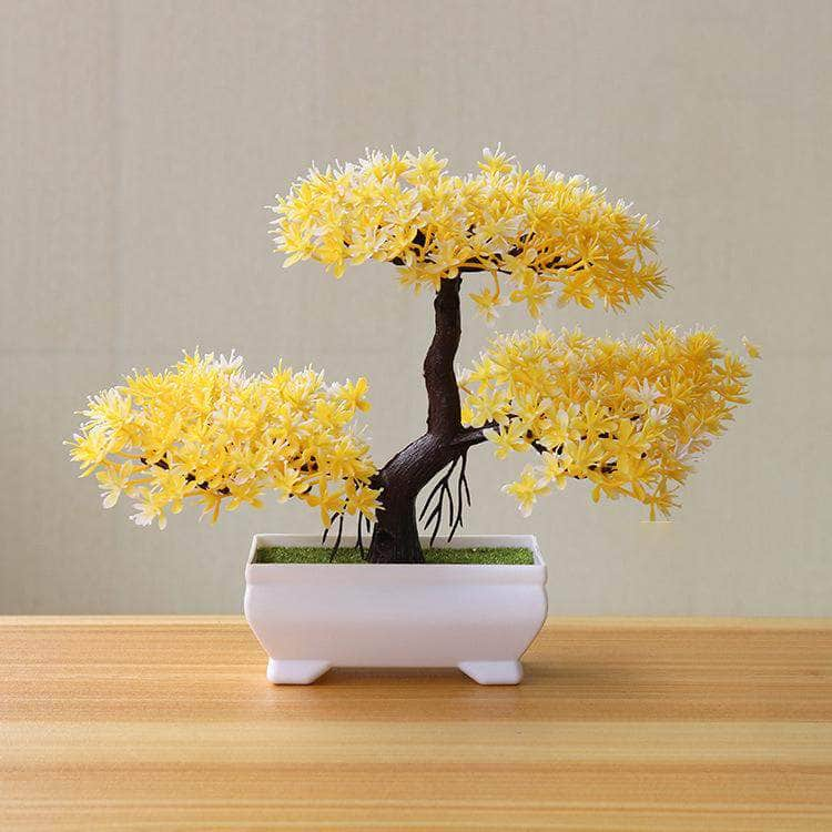 Funterior Yellow Funterior Yunsong Style Artificial Bonsai Tree Plants  | Small Ornaments For Home Decoration OODS0000921